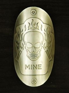 "Custom bicycle head badge, ""MINE"""