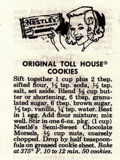 original nestle toll house cookies called for 1 teaspoon of water - - Image Search Results Retro Recipes, Old Recipes, Vintage Recipes, Cookbook Recipes, 1950s Recipes, Recipies, Yummy Recipes, Brownie Cookies, Cookie Desserts