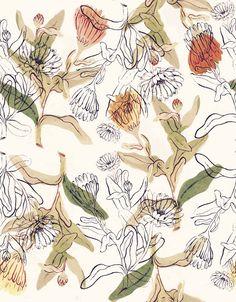 "Grafica di MauScarf: ""Calendule"" #pattern #thecolorsoup #flowers #colors #textile #design #style #texture"
