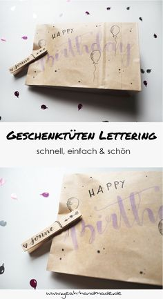 DIY Geschenktüten gestalten mit einem hübschen Lettering und einer Holzklammer. Anleitung auf yeah handmade