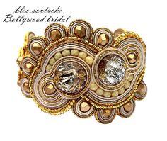 Sutasz Kleo /Soutache jewellery: Biżuteria ślubna sutasz, kolczyki, bransoletka Bollywood bridal