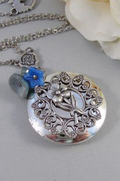 Forget Me NotLocketSilver by ValleyGirlDesigns on Etsy, $31.00