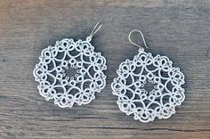Купить Свадебные серьги фриволите - белый, свадебные украшения, свадебные серьги, украшения ручной работы