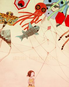 Tangled 8x10 color art print - drawing watercolor mixed media girl and japanese kites. $20,00, via Etsy.