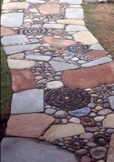 Beautiful mosaic like pebble path #garden #landscaping