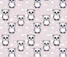 Cute Panda Bears and clouds fabric by nossisel on Spoonflower - custom fabric