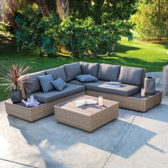 Bask in backyard bliss with the Belham Living Luciana Villa All-Weather Wicker Sectional Patio Conversation Set . With a two-seater loveseat,. Fire Pit Patio Set, Fire Pit Sets, Baguette, Cozy Backyard, Modern Backyard, Patio Design, Backyard Designs, Outdoor Living, Outdoor Spaces