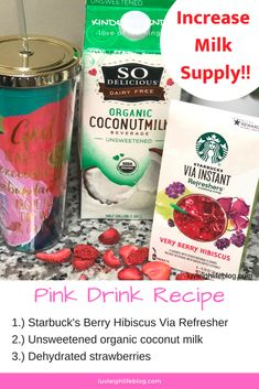 This fruity pink drink is creating a milky splash with breastfeeding moms and has us all wondeirng, does Starbucks' Pink Drink Drink increase milk supply? Pink Drink Recipes, Pink Drinks, Cold Drinks, Pink Starbucks, Starbucks Drinks, Starbucks Pink Drink Recipe, Starbucks Recipes, Brave, Organic Coconut Milk