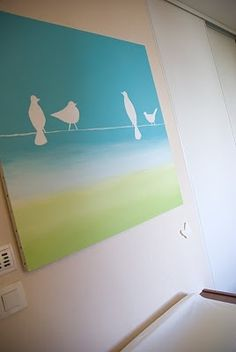 DIY Canvas Painting Ideas | the uncategorized remnant of lovely canvas ideas / DIY canvas painting- i like these types of art that you put stickers or stencil type things on canvas and painting over and then peeling off the stickers- voila!