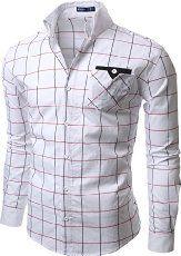 Doublju Mens Casual Slim Fit Plaid Shirts