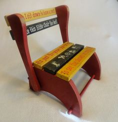 VTG Retro Toy 1950s Antique Wooden Wood Childs TV Red Painted Chair Stool  by ModSquadPicking, via Flickr
