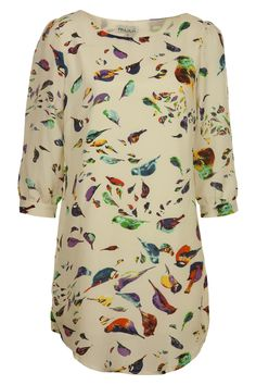 Birds Cropped Sleeve Dress