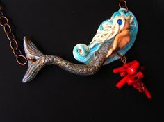 Go with a flow..original polymer clay handsculped by Feelingfimo, €35.00