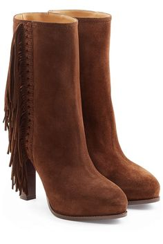 #Ralph #Lauren #Collection #Fransen, #Boots aus #Veloursleder #, #Braun für…