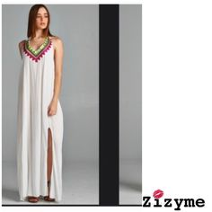 Embroidered Maxi  Dress With Side Slits 100% cotton embroidered maxi dress with side slits, back opening and adjustable tie up around neck.✅ one size fits both regular and plus size ✅⛔️️️price is firm⛔️ Dresses Maxi