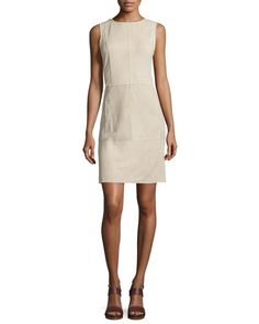 TBMKL Vince Whipstitch Nubuck Leather Sleeveless Dress