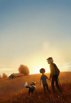art, illustration, figure, child, boy, old man, behind, animal, dog, landscape, field, sunset, house, lighting,  //  Erwin Madrid