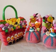 sac main et chaussure en bonbon Flan, Nora, Sweets, Desserts, Cookies, Puddings, Hands, Gummi Candy, Shoe