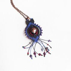 Micro macrame pendant  Blue Black Red Purple by MartaJewelry, $32.00