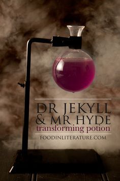 Inspired by Dr Jekyll and Mr Hyde, make this easy, kid friendly, transforming potion recipe for Halloween this year! http://foodinliterature.com/food-in-literature/2016/10/dr-jekyll-mr-hyde-transforming-potion.html
