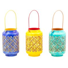 These pretty fair trade lanterns have an attractive pierced flower pattern finished with a two tone coloured finish. Can be used both indoors and outdoors. Made in India.