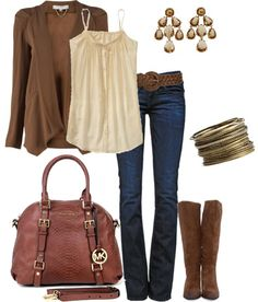 A great casual outfit and color scheme! Universally-flattering neutral color palette, casual-yet-classy outfit. : A great casual outfit and color scheme! Universally-flattering neutral color palette, casual-yet-classy outfit. Michael Kors Outfit, Handbags Michael Kors, Mk Handbags, Casual Fall Outfits, Winter Outfits, Casual Wear, Fashion Outfits, Womens Fashion, Fashion Tips