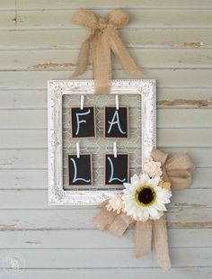 Shabby Chic fall chalk paint and chalkboard wreath or wall hanging.