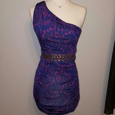 KOUTURE BY KIMORA Purple one shoulder dress One shoulder purple and blue. Gold accents in front KOUTURE BY KIMORA  Dresses One Shoulder