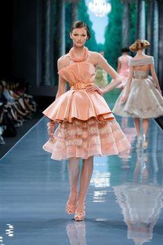 Christian Dior défilé Haute Couture automne hiver 2008 2009 bustier sur jupe en tulle pêche brodée