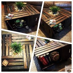 Beautiful hand crafted wooden crate coffee table.