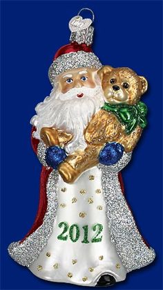 2012 Santa with Teddy Old World Glass Ornament