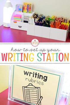 Create a fun and engaging writing station in your class to encourage your little learners to write! Find out how I created a fun writing space using just a cabinet! Kindergarten Writing Activities, Toddler Learning Activities, Teaching Writing, Elementary Teaching, Teaching Ideas, Cool Writing, Kids Writing, Writing Ideas, Creative Writing