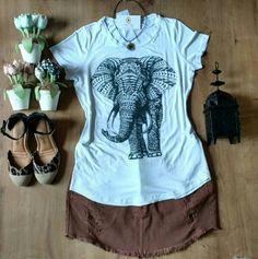 Camiseta elefante indiano com aplicações
