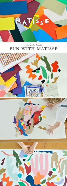 """Fun art project for kids to explore the artwork of Matisse. Have kids """"paint with scissors"""" by cutting out shapes and gluing them to make art."""