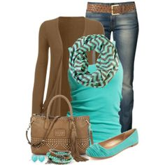 Teal & Brown, created by immacherry on Polyvore
