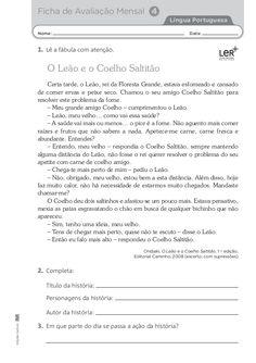 Fichas de avaliação lp 2º
