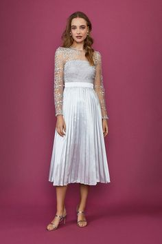 Lace Midi Dress | Coast Collection Services, Lace Midi Dress, White Dress, Coast Fashion, Silver Dress, Dream Dress, Pleated Skirt, Bodice