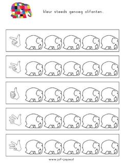 elmer i num dits Preschool Number Worksheets, Teaching Numbers, Preschool Printables, Kindergarten Activities, Preschool Activities, Elmer The Elephants, September Themes, Kindergarten Portfolio, I Love School