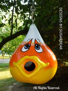 Fun & Adorable Gourd Birdhouse - Hand Crafted & Painted Candy Corn - available for purchase on Ebay or Etsy from Designs by Sugarbear Original Gourd Art & Decor Designs
