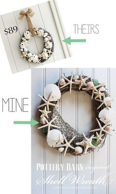How to make a Pottery Barn inspired shell wreath.
