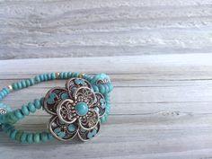 Turquoise Blue Green bracelet Western Wear Western Jewelry Cowgirl gift for her Flower bracelet