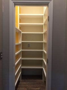 Walk-in Pantry created where there used to be a hallway between the dining room and kitchen.