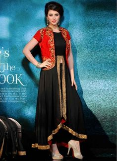 Lovely Red Black Embroidery Work Raw Silk Georgette Gown