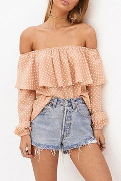 Orange Off Shoulder Ruffled Wave Point Pattern Fashion Blouse