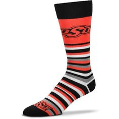 For Bare Feet Oklahoma State University Lotta Stripe Thin Knee High Dress Socks (Orange, Size One Size) - NCAA Licensed Product, NCAA Novelty at Ac...