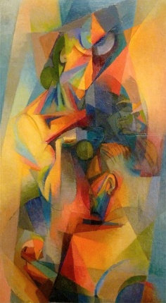 Stanton MacDonald-Wright: Au Café (Synchromy), 1918. Stanton MacDonald-Wright, was a modern American artist. He was a co-founder of Synchromism, an early abstract, color-based mode of painting, which was the first American avant-garde art movement to receive international attention