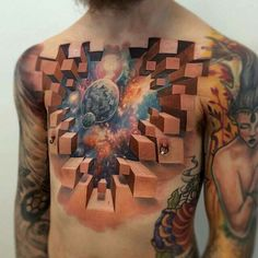 Wow... Mind-blowing spacey 3D chest piece by @jesse_rix!