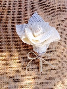 Burlap Rosette Boutonniere  Perfect For:  Country Wedding. Barn Wedding. Outdoor Wedding. Fall Wedding. Rustic Wedding. Shabby Chic Wedding or