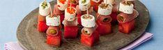 Brochettes pastèque-olives au jambon et au Tartare Sushi, Ethnic Recipes, Food, Balsamic Vinegar, Ham, Recipe, Skewers, Grilling, Tartarus