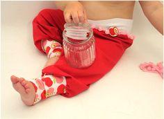 Kinderhose mit Äfeln rotpinkrosa Apfelhose Hose von PicknickerBlue
